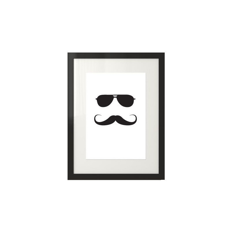 Poster with hipster in sunglasses and mustache Hipster No3