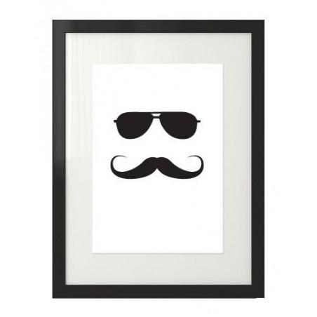 """Plakat z hipsterem w okularach przeciwsłonecznych i wąsach """"Hipster No3"""""""