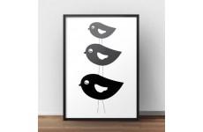 Skandynawski plakat z trzema ptaszkami