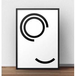 """Skandynawski plakat na ścianę """"Dwie obręcze"""" w stylu minimalistycznym"""