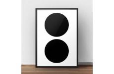"""Skandynawski plakat """"Dwa czarne koła"""" utrzymany w stylu minimalistycznym"""