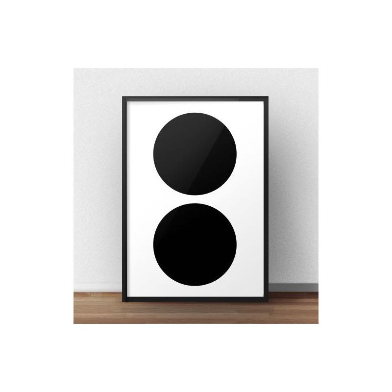 Scandinavian poster Two black wheels