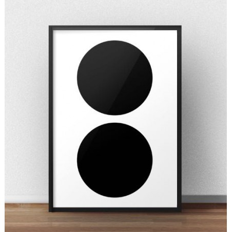 """Skandynawski plakat """"Dwa czarne koła"""""""