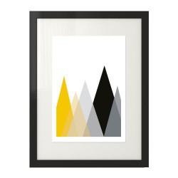 Skandynawski plakat z kolorowymi trójkątami przedstawiający góry