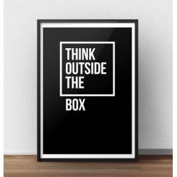 """Motywacyjny plakat z napisem """"Think outside the box"""" w wersji z czarnym tłem"""