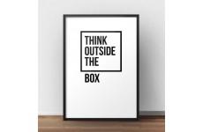 """Plakat z napisem """"Think outside the box"""" w wersji z białym tłem"""