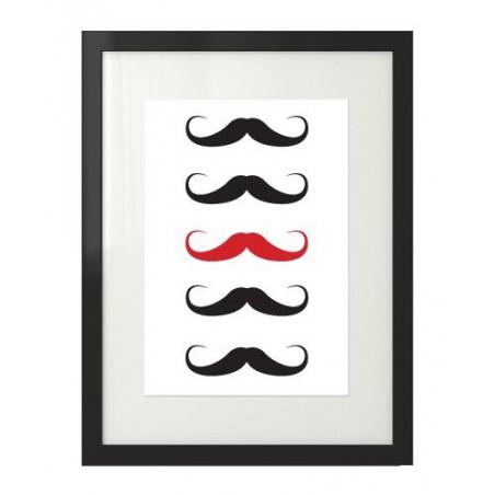 """Plakat z wąsami """"Red mustache"""""""