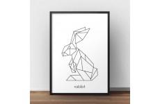 Skandynawski plakat geometryczny z królikiem