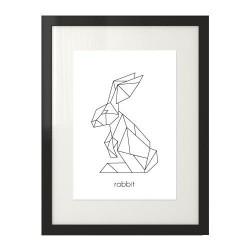 Plakat z geometrycznym królikiem