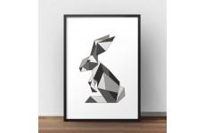 Plakat z geometrycznym królikiem w kolorze ciemno-szarym