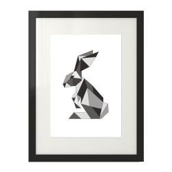 Geometryczny plakat z królikiem w szarym kolorze