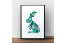 Skandynawski plakat z królikiem w kolorze turkusowym