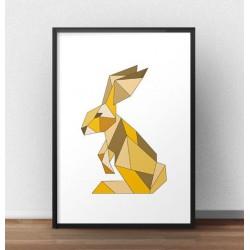 Kolorowa grafika na ścianę z geometrycznym królikiem w kolorze żółtym