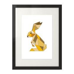 Skandynawski plakat - królik w kolorze żółtym