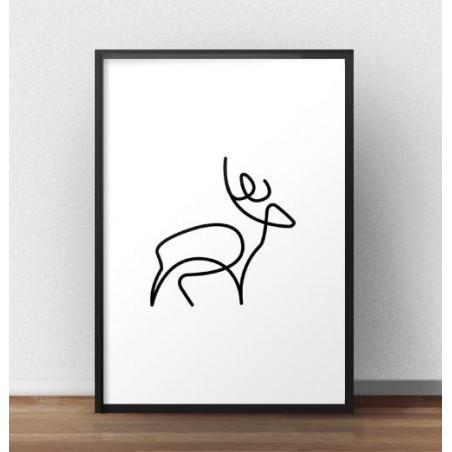 Plakat z jeleniem narysowany jedną linią
