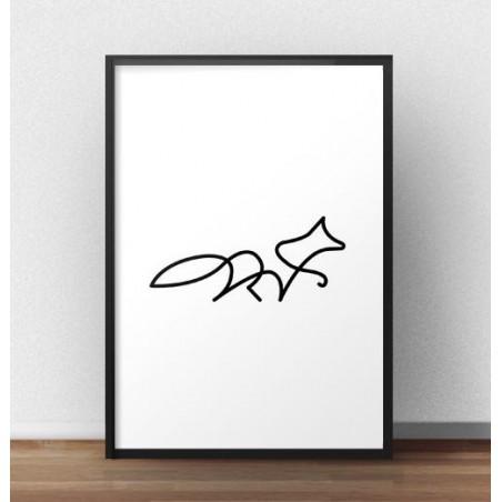 Plakat z lisem narysowany jedną linią