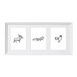 Kompozycja trzech plakatów ze zwierzętami - jeleń, lis i kogut