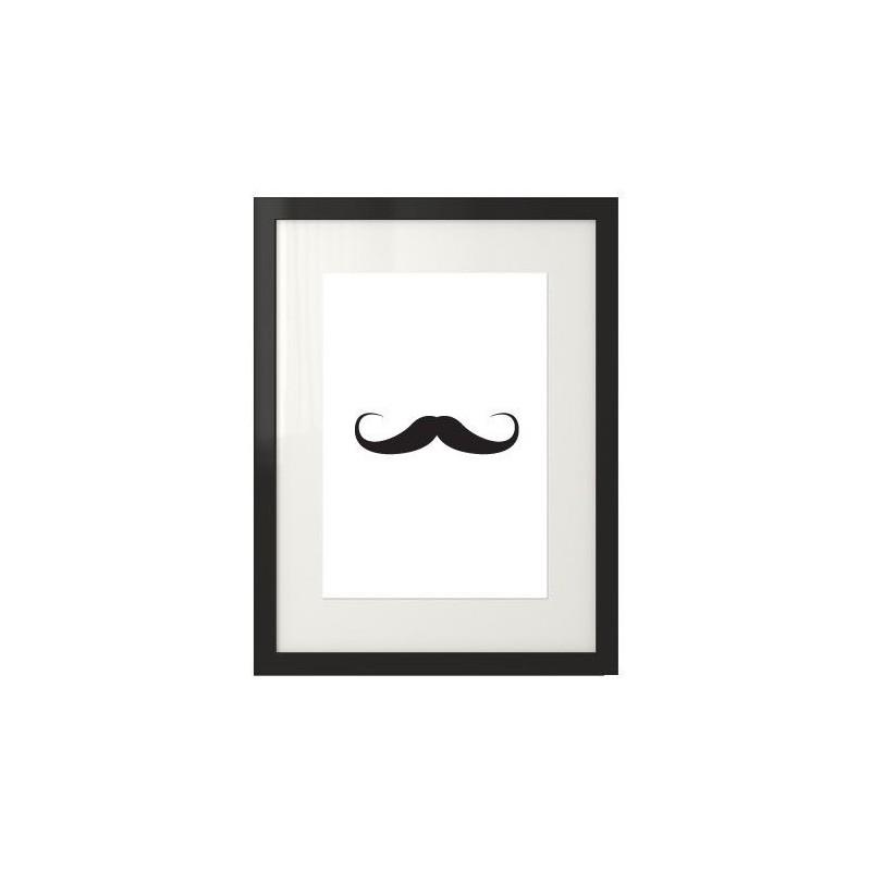 Plakat przedstawiający wąsy w centralnej części grafiki