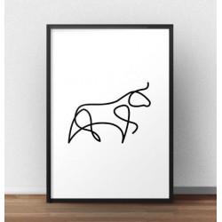 Plakat z bykiem narysowanym jedną linią