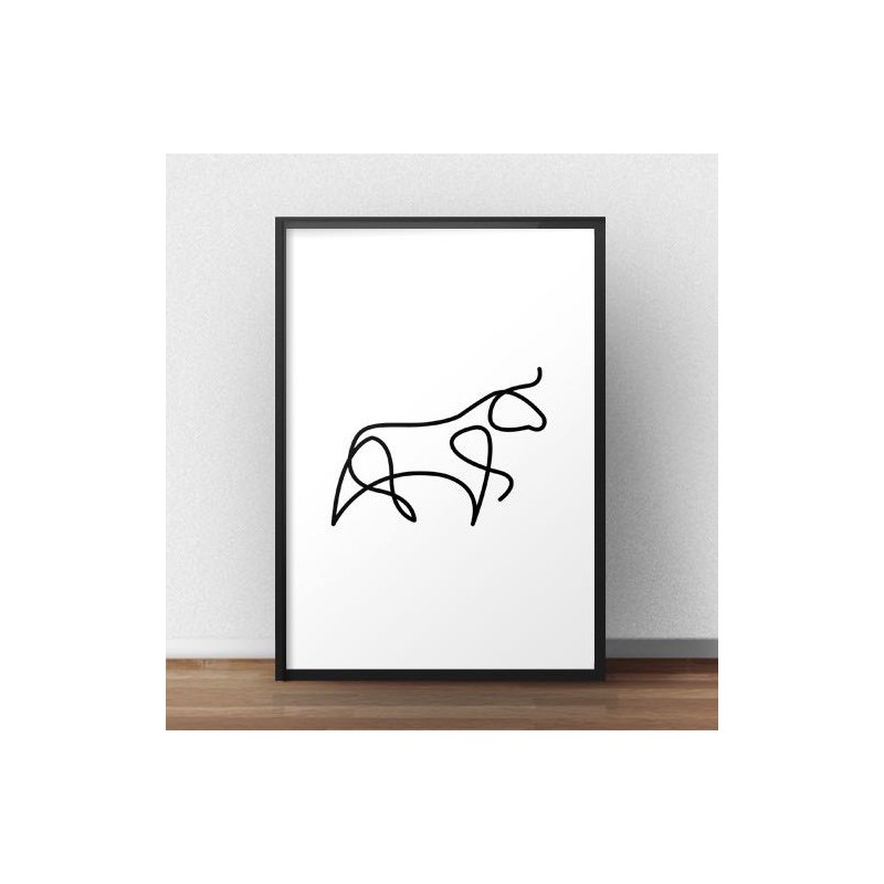 Poster with bull drawn with one line