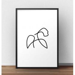 Plakat z gorylem narysowanym jedną linią