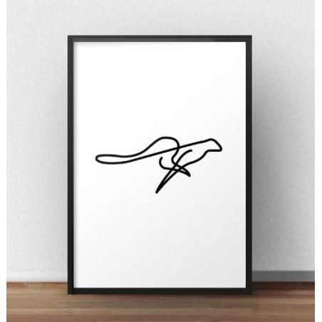 Plakat z gepardem narysowanym jedną linią