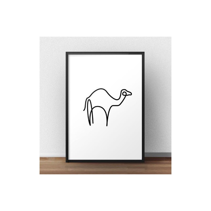 A poster with a camel drawn with one line