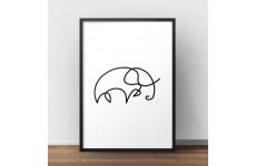 Plakat ze słoniem narysowanym jedną linią