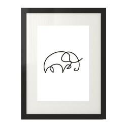 Minimalistyczna grafika przedstawiająca słonia narysowanego jednym ruchem ręki