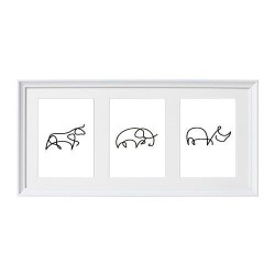 Zestaw grafik ze zwierzątkami narysowanymi jedną linią. Zestaw składa się z wizerunku byka, słonia i nosorożca.