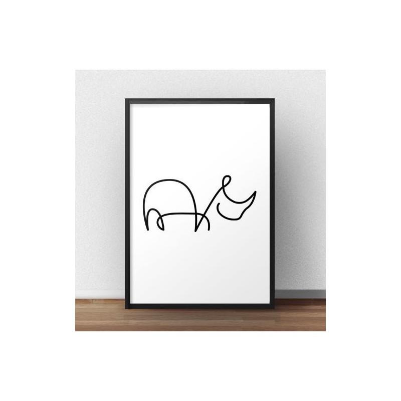 Plakat z nosorożcem narysowanym jedną linią