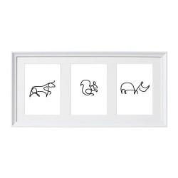 Zestaw trzech plakatów ze zwierzętami narysowanymi jedną linią