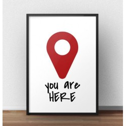 "Kolorowa grafika na ścianę ""You are here"""