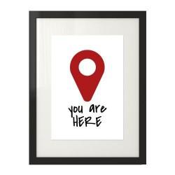 """Plakat z napisem """"You are here"""" i grafiką"""