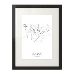 Plakat z grafiką planu metra w Londynie