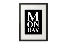 """Skandynawski czarny plakat z białym napisem """"Monday"""""""