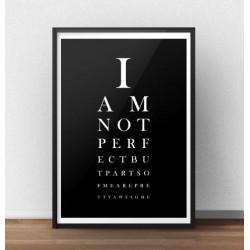 Czarny plakat typograficzny na wzór tablicy Snellena