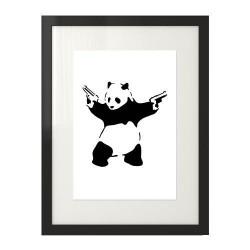 """Plakat na ścianę inspirowany dziełem Banksy'ego """"Panda With Guns"""""""