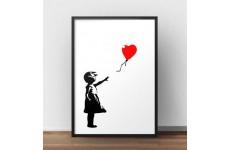 Plakat z dziewczynką puszczającą czerwony balonik Banksy