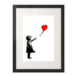 Plakat inspirowanym dziełem Banksy'ego przedstawiający dziewczynkę z czerwonym balonikiem