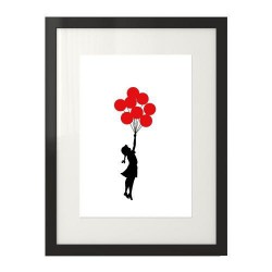 Plakat inspirowany twórczością Banksy'ego przedstawiający dziewczynkę z balonami