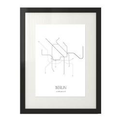 Plakat z grafiką planu metra w Berlinie oprawiony w czarną ramę