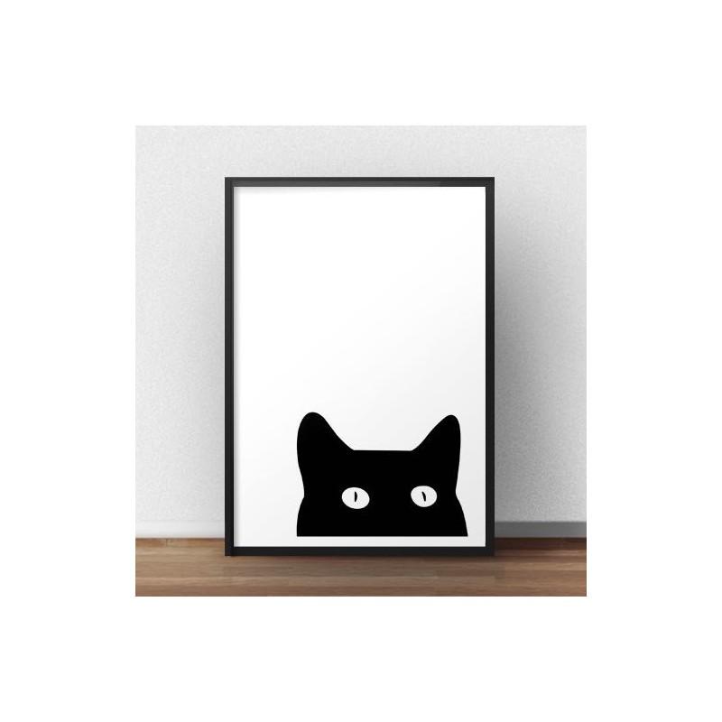 """Czarno-biały plakat """"Ciekawski kot"""" na ścianę"""
