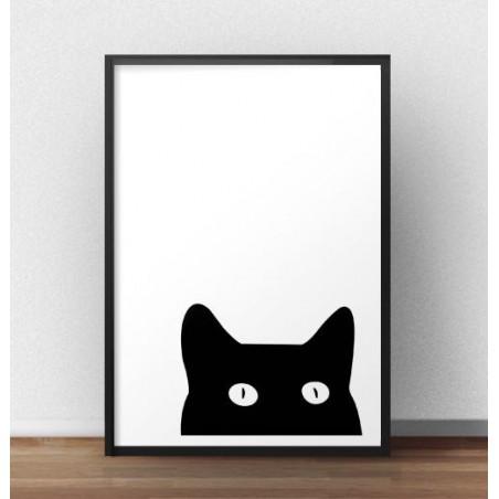 """Czarno-biały plakat """"Ciekawski kot"""""""