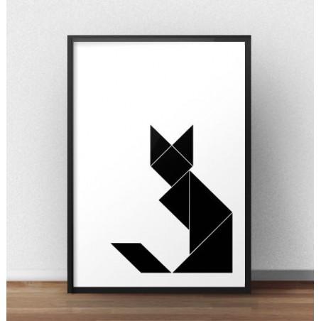 Plakat z geometrycznym kotem