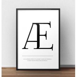 """Skandynawski plakat typograficzny z literą """"Æ"""""""