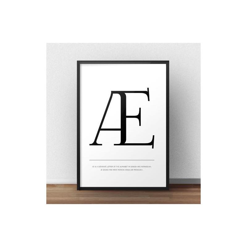 Scandinavian poster with capital letter Æ