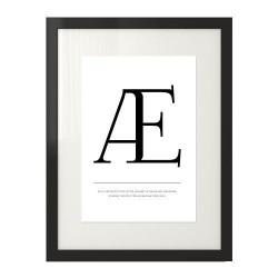 """Plakat w skandynawskim stylu z literą """"Æ"""" do powieszenia na ścianie"""