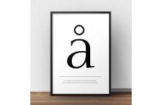 """Skandynawski plakat typograficzny z małą literą """"å"""""""