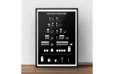 Czarny plakat do kuchni kuchenny przelicznik